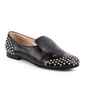 MiuMiu Distressed Studded Leather Smoking Slippers